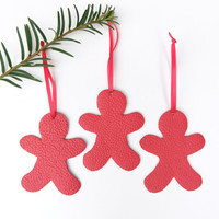 Christmas gingerbread ornaments - Leather Christmas ornaments - Christmas decor - Red Leather ornaments - Holiday decor - Set of 3