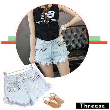 High Waist Rivet Hot Sale Women's Fashion Denim = 4815103044