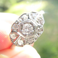 Art Deco Diamond Ring, Bright Fiery Diamonds, Pretty Design, Crisp Milgrain, Circa 1930s to early 1940s