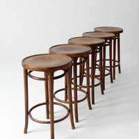 ON SALE FREE Ship vintage bentwood stools / set of 5 wood stools