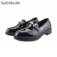 SUOJIALUN Women Oxfords Flats Shoes Leahter Slip on Round Toe Metal Buckle Female Women Flat Mules Shoes Loafers Women