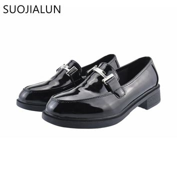 SUOJIALUN Women Oxfords Flats Shoes Leahter Slip on Round Toe Me 94ae11b03d89