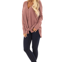 Red Bean Waffle Knit Button Up Long Sleeve Top