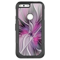 Floral Fractal Modern Abstract Flower Pink Gray OtterBox Commuter Google Pixel XL Case