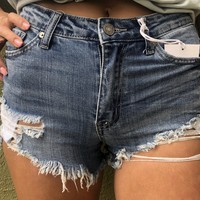 Kan Can High Rise Distressed Shorts- Dark Wash