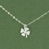 Cloverleaf Necklace, Silver Cloverleaf, Shamrock Necklace, 4 Leaf Cover Fine Chain Necklace, Saint Patricks Necklace, Silver Chain