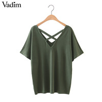 women lace up cross V neck loose T shirt short sleeve basic tees army green summer regular casual brand tops