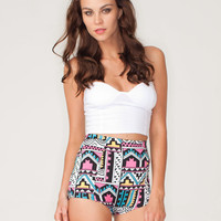 Motel Hilly High Waist Hot Pant in Aztec Pastel Print