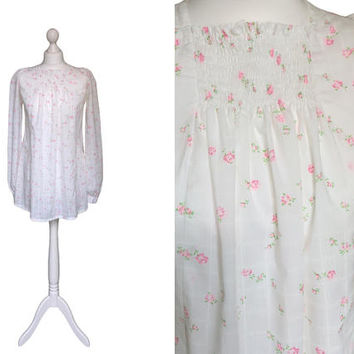 1960's Babydoll Dress | 60's Mini Dress | White Floral Vintage Dress | Pink Roses Smock Top