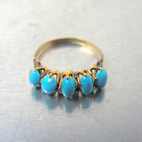 Antique Victorian Turquoise Ring 10K Rose Gold Persian Turquoise Cabochons, Unique Engagement Ring,  Size 5