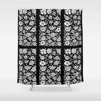 Black Floral Shower Curtain by Liz Davis