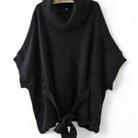 Black Cape-style Loose Bat Sleeve Sweater  S000460