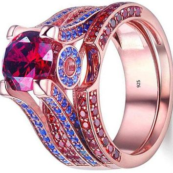 Red Ruby Blue Sapphire 925 Sterling Silver Wedding Engagement Gemstone Ring