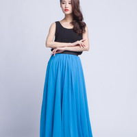 High Waist Bridal Skirt Chiffon Long Skirts Beautiful Elastic Waist Summer Skirt Floor Length Beach Skirt (101) ,99#