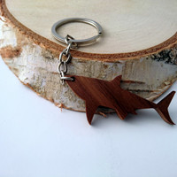 Wooden Shark Keychain, Walnut Wood, Animal Keychain, Environmental Friendly Green materials