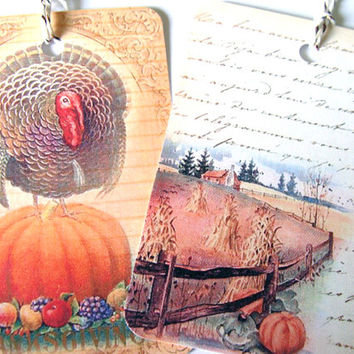 Thanksgiving Tags - Set of 6 - Vintage Look - Turkey Tags - Harvest Fields - Autumn Scenes - Holiday Tags - Happy Thanksgiving - Thank Yous