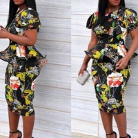 Black Floral Print Peplum One Piece Bodycon Elegant Party Midi Dress
