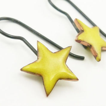 Enameled Star Earrings