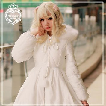 Princess sweet lolita coat Brocade Garden Winter thickening warm overcoat long coat fairy tale style lolita down jacket ZJY057