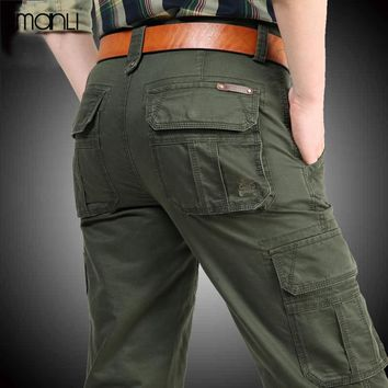 MANLI 2018 Mens Hiking Pants Military Cargo Pants Multi-pockets Baggy Men Trousers Overalls Army Pants Joggers
