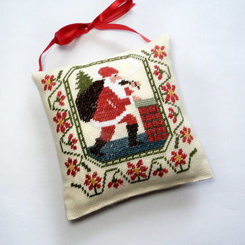 Christmas tree decor, Completed cross stitch, finished primitive decor ornament pillow, christmas gift present, Santa Claus