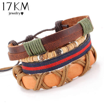 17KM 4 PCS/SET Vintage Leather Bracelet 2018 Charm Beads Jewelry Wristband boho Statement Bracelet for Women Men Bijoux