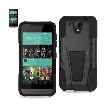 New Hybrid Heavy Duty Case With Kickstand In Black For HTC Desire 520 By Reiko