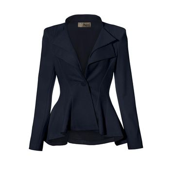 Ladies Grey Professional Peplum Lapel Office Blazer Jacket