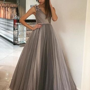 Evening Dress Long Grey Tulle V Neck Prom Dress For Women
