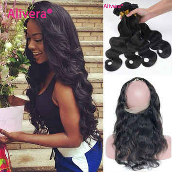 OPAL FERRIE - Pre Plucked 360 Lace Frontal With 3/4pcs Peruvian Body Wave Hair 22x4x2 360 lace frontal with 3 bundles