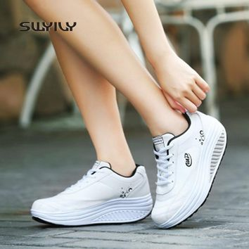 SWYIVY Women Slimming Swing Shoes Wedge Breathable Sneakers 2018 Four Seasons New Lace-up Height Increasing Female Sport Shoes