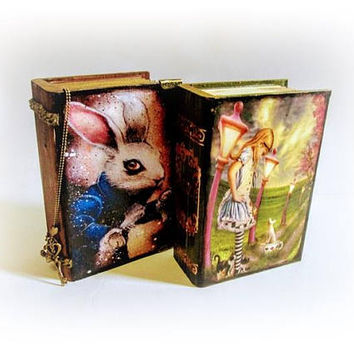 Set of 2 Book Boxes White Rabbit Box Alice's Adventures Trinket Box Jewelry Box Alice in Wonderland Xmas Gift Alice in Wonderland Decor