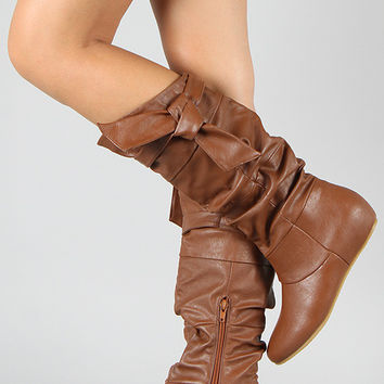 Wild Diva Lounge Knotted Slouchy Wedge Boot