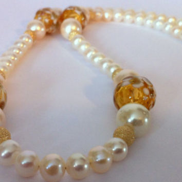 Fashion Jewelry Hand Blown Glass Jewelry, Glass Blown Beads Pearl Necklace Gold Bead Pearl Necklace Evening Necklace