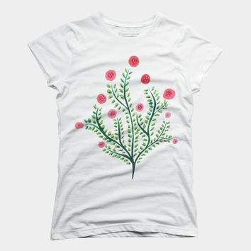Abstract Spring Plant In Pink And Green T Shirt By Boriana Design By Humans