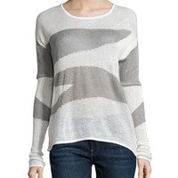 Two-Tone Knit Sweater, Gray Mix