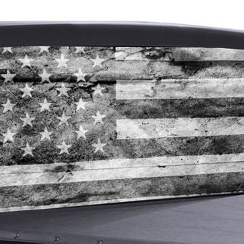 Distressed American Flag B/W Universal Truck Rear Window 50/50 Perforated Vinyl