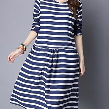 Casual Round Neck Striped Nifty Skater Dress