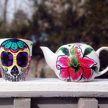 Hand painted sugar skull and star gazer lily tea pot and mug set