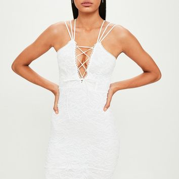 Missguided - White Lace Up Double Strap Midi Dress
