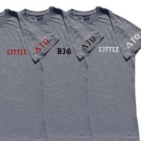 Sorority letter shirt big little reveal greek letters on sleeves & hiphop font big little gbig grand little twin many more sorority t-shirt