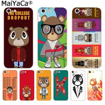 MaiYaCa Kanye West Graduation Bear Luxury High-end phone Accessories Case for iPhone 8 7 6 6S Plus X 10 5 5S SE XR XS XS MAX