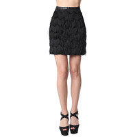 Black mini skirt with soft-touch fringe detail