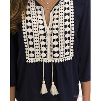 Dressed To Impress Navy Crochet Tassel Top