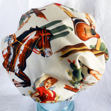 Retro Shower Cap - Vintage Pinups Cowgirls Country Western Horses Cactus - Rockabilly Bath and Beauty Hat