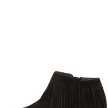Steve Madden Patzee Black Suede Leather Fringe Booties