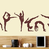 Free Shipping Six Dance Girls gymnastics wall Sticker Sport Vinyl Art  Wall Mural Sticker For Home decoration Wall Papers Y-228