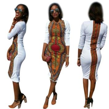 African Print White Party Dresses