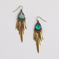 Abalone and Brass Chandelier Earrings - World Market