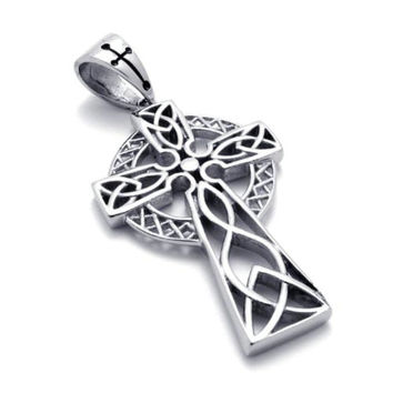 Jonline24h Stainless Steel Irish Knot Celtic Cross Mens Womens Necklace Penda...